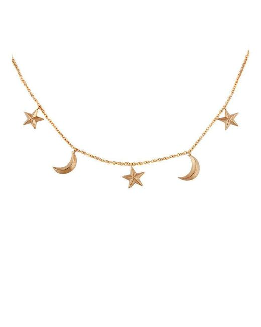 London Road Jewellery - Metallic Portobello Rose Gold Star And Moon Starry Night Necklace - Lyst