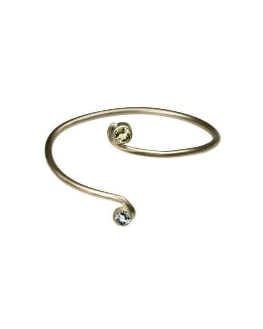 Farah Qureshi - Metallic Curved Bangle With Two Stones - Lyst