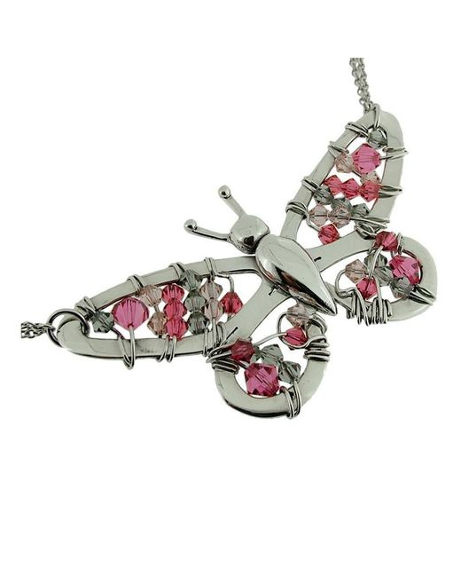 Rachel Helen Designs - Red Sterling Silver Butterfly Necklace - Lyst