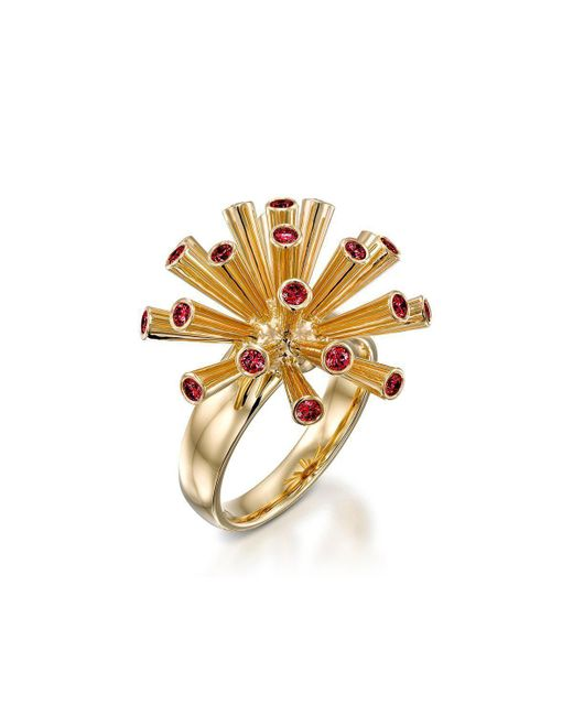 Ayalla Joseph - Metallic Fireworks Ring With Red Spinel - Lyst