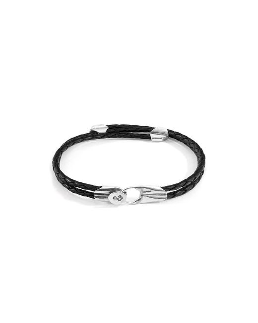 Anchor & Crew - Multicolor Sterling Silver Coal Black Conway Geometric Leather Bracelet - Lyst