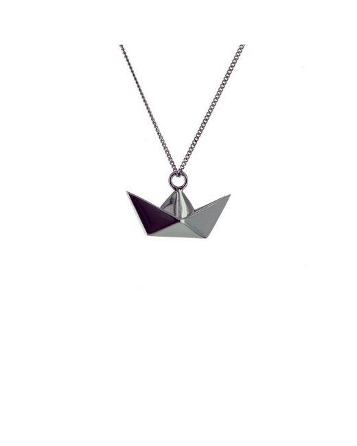 Origami Jewellery - Metallic Black Silver Mini Boat Origami Necklace - Lyst