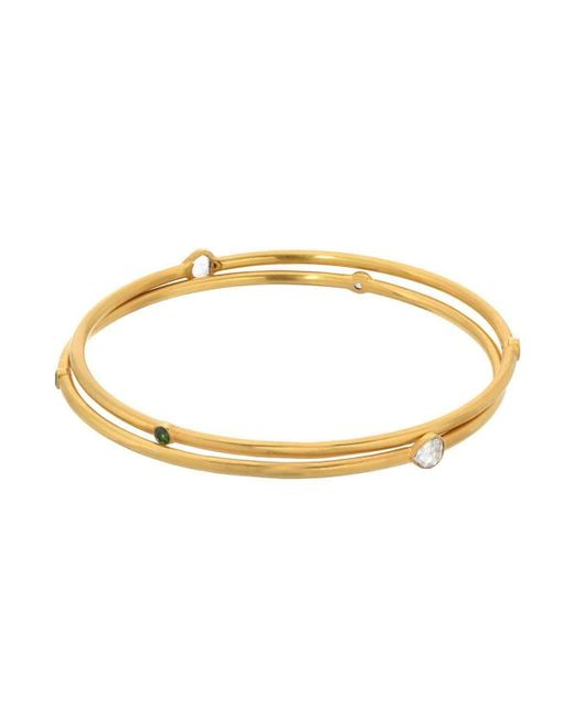 JS Noor - Metallic Bangle With Rose Cut And Stones - Lyst