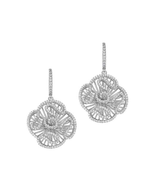Fei Liu - Metallic Cascade Stud Drop Earrings In Rhodium Plate - Lyst