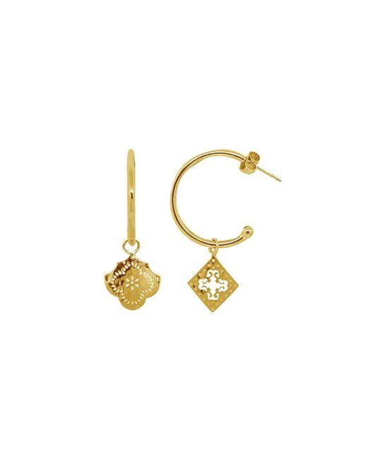 Murkani Jewellery - Metallic Gold Medium Mismatched Hoop Earrings | - Lyst
