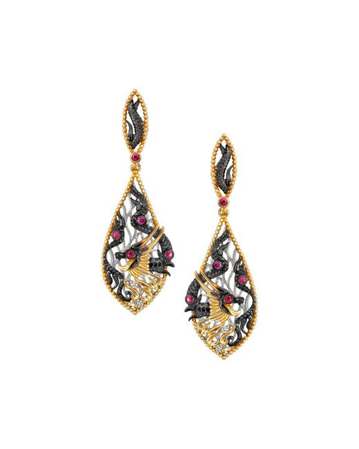 Chekotin Jewellery | Multicolor Fire Element Dragon Earrings | Lyst