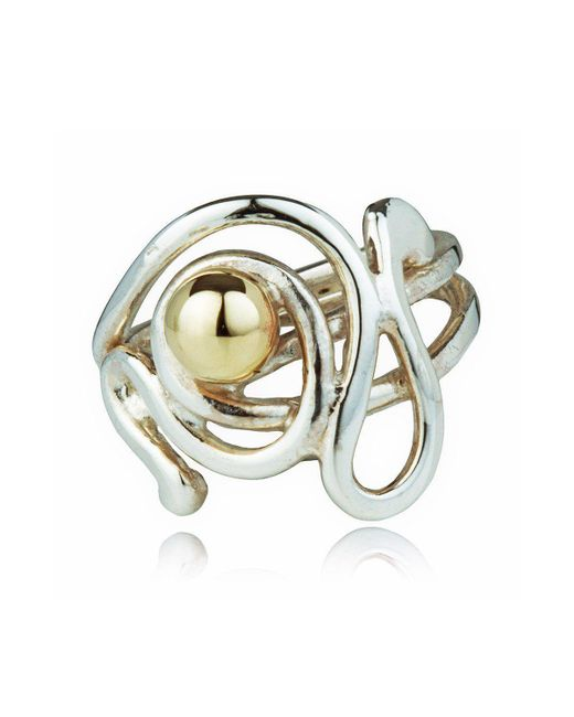 Lavan - Metallic Handmade Gold And Silver Contemporary Wire Work Ring - Lyst