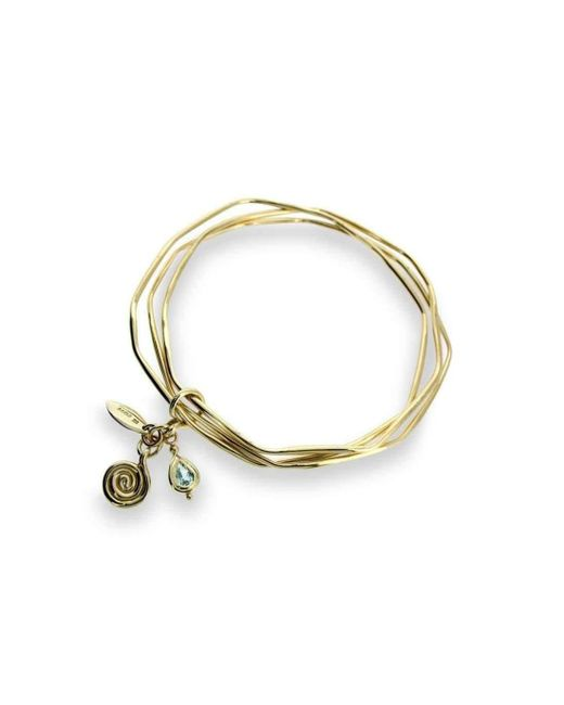 Will Bishop - Metallic Gold Bangles With Blue Topaz - Lyst