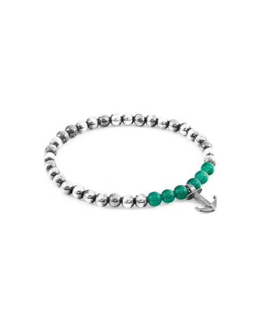 Anchor & Crew - Multicolor Green Agate Keel Silver And Stone Bracelet - Lyst