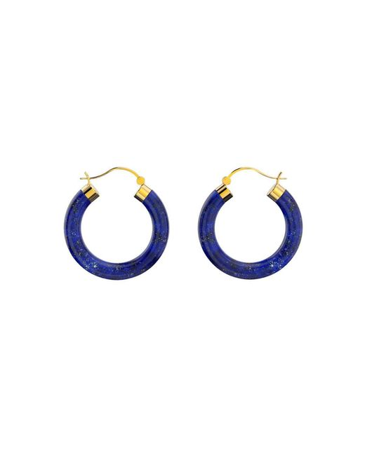 MARCELLO RICCIO - Blue Yellow Gold Plated Sterling Silver Lapis Lazuli Hoop Earrings - Lyst