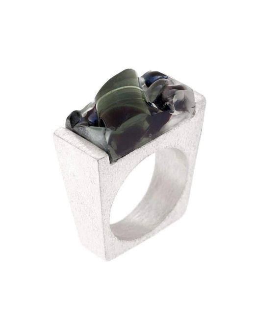 Pasionae | Metallic Murano Glass Silver Ring | Lyst