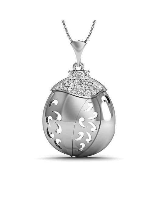 Diamoire Jewels - Metallic Hand-carved 18kt White Gold And Diamonds Pave Pendant - Lyst