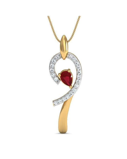 Diamoire Jewels - Metallic Diamond And Pear Cut Ruby Pendant Hand-carved From 10kt Yellow Gold - Lyst