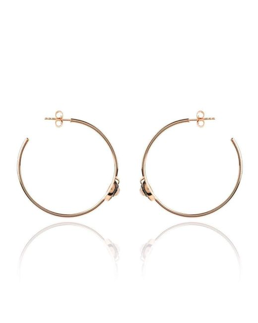 Latelita London | Metallic Diamond Rose Chalcedony Rose Gold Hoop Earring | Lyst