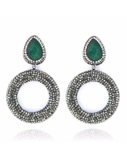 Cosanuova - Metallic Emerald Drop Earrings - Lyst