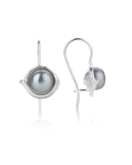 Lavan - Metallic Silver Drop Earrings With Grey Pearls - Lyst