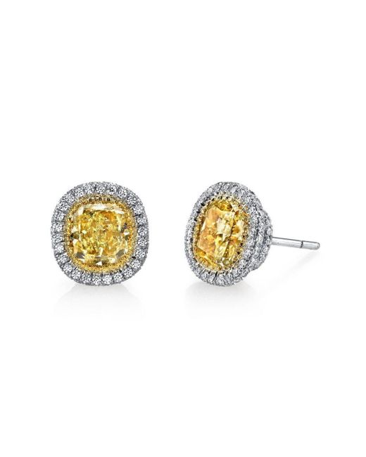 Harry Kotlar - Metallic Fancy Yellow Cushion Cut With Halo Pave Stud Earrings - Lyst
