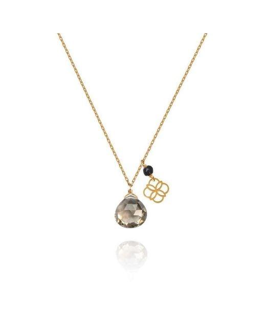 Perle de Lune - Multicolor Smoky Quartz Drop And Daisy Pendant 18kt Gold - Lyst