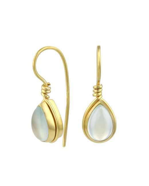 Prism Design - Metallic 9kt Gold Aqua Chalcedony Teardrop Earrings - Lyst