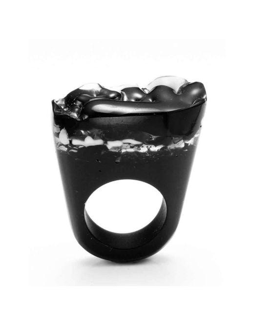 Pasionae | Metallic Murano Ring - B&w - Delight | Lyst