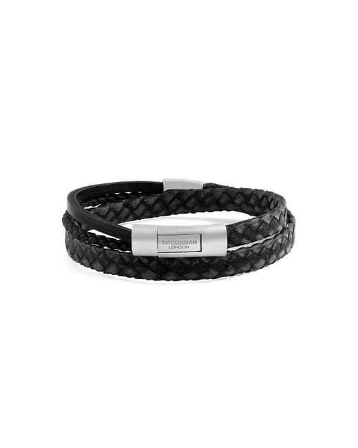 Tateossian - Silver & Black Leather Cobra Doppio Bracelet | - Lyst