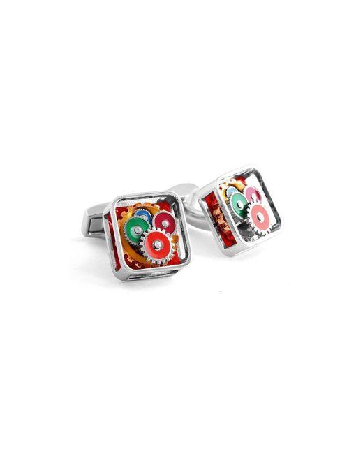 Tateossian - Multicolor Silver & Multicolour Square Gear Cufflinks | - Lyst