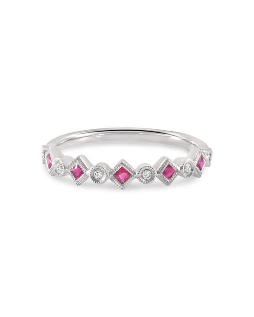 Estenza | Metallic Pam Ruby White Gold Stacking Ring | Lyst