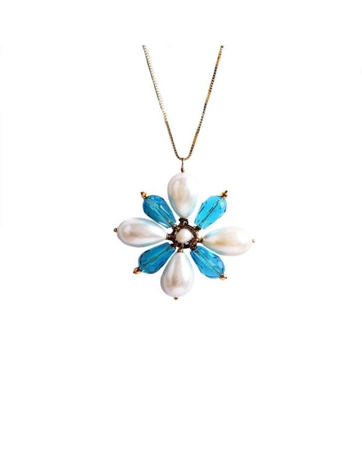 M's Gems by Mamta Valrani - Spring Blossom Chain With White And Blue Floral Pendant - Lyst