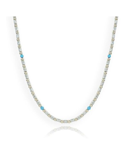 Lavan - Metallic Stunning Gold And Silver Blue Opal Necklace - Lyst