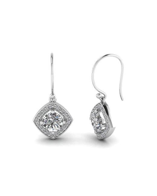 Diamoire Jewels - Metallic Kite Halo Drop Earrings In 10kt White Gold - Lyst