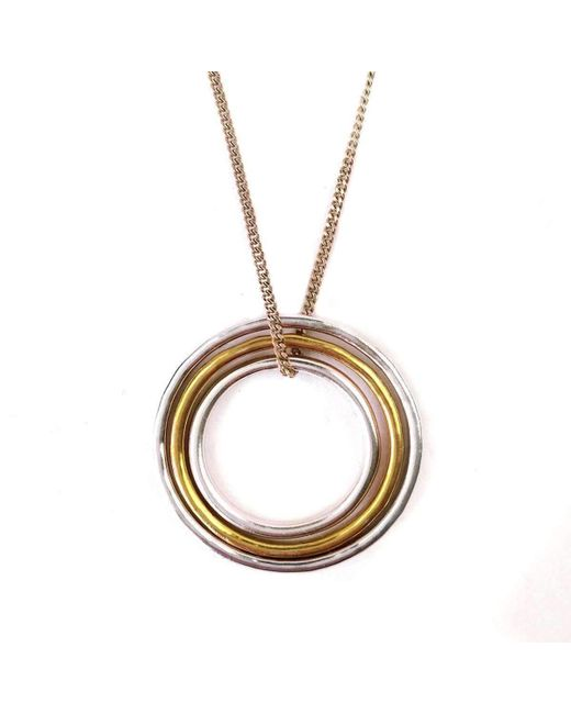 FRAN REGAN JEWELLERY - Metallic Pendant 1 Vermeil Loop, 2 Silver Loops On Silver Chain - Lyst