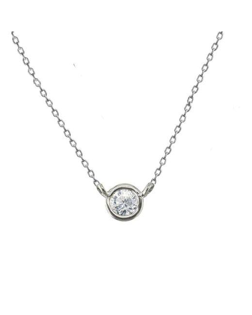 London Road Jewellery - Metallic Classic White Gold Diamond Single Stone Raindrop Pendant - Lyst