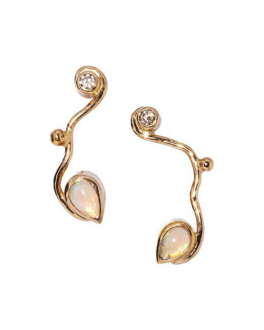 Bergsoe - Metallic Gold Seafire Earrings With Champagne Diamond & Opal   - Lyst