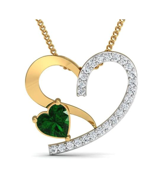 Lyst diamoire jewels heart shape emerald and diamond pendant in diamoire jewels metallic heart shape emerald and diamond pendant in 10kt yellow gold lyst aloadofball Image collections