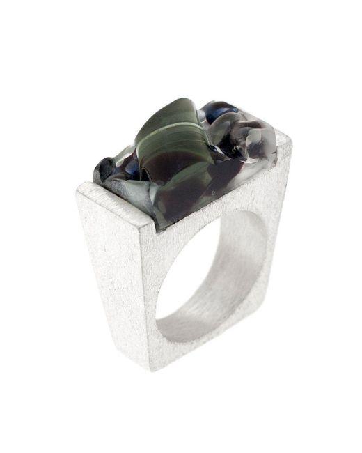 Pasionae - Metallic Murano Glass Silver Ring - Lyst