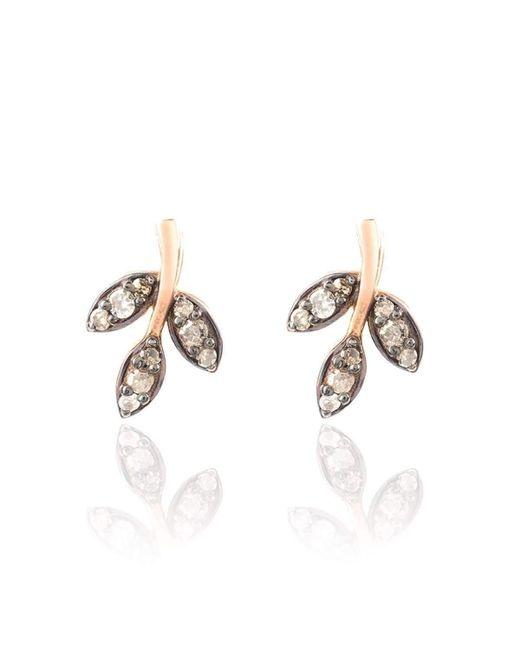 Latelita London - Multicolor Diamond Rose Gold Leaf Stud Earring - Lyst