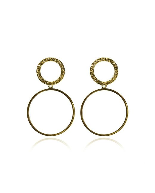 Carao Jewelry - Metallic Duet Dangle Earrings Yellow Gold Plated - Lyst