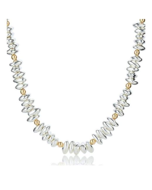 Lavan - Metallic Gold And Silver Pebble Necklace - Lyst
