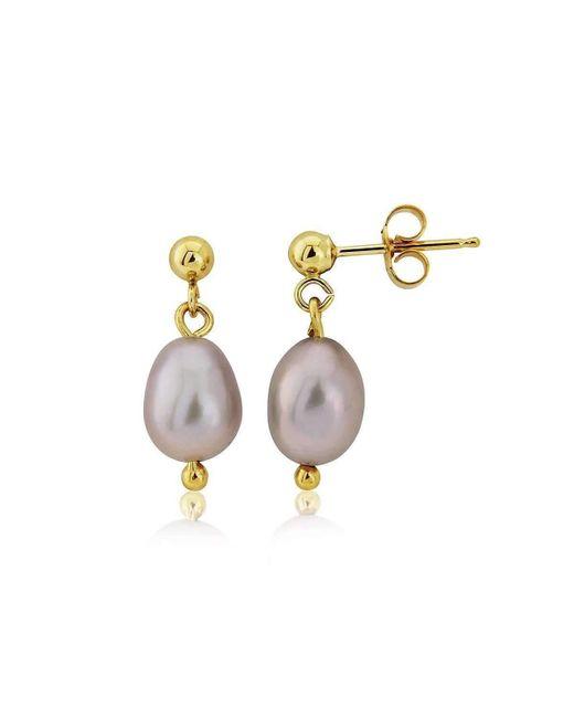 Lavan 9kt Gold & Large Grey Pearl Drop Earrings fOeVQ5