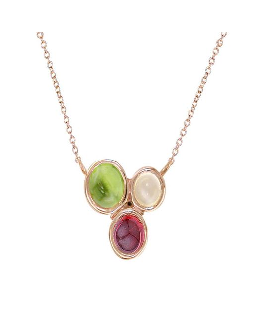 London Road Jewellery - Metallic Rose Gold Multi-gem Necklace - Lyst