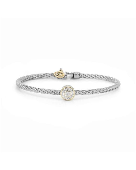 Alor - Gray 18kt White & Yellow Gold Classique Diamond Large Station Bangle - Lyst