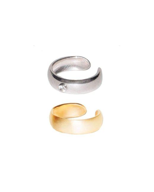 Dutch Basics - Metallic Pair Small Ear Cuffs In Silver & Gold Plating - Lyst