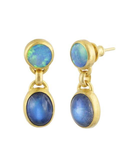 Gurhan   Blue Amulet Hue Double Drop Earrings   Lyst