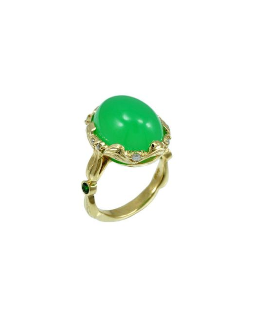 Alex Gulko Custom Jewelry - Green Chrysoprase Yellow Gold Ring - Lyst