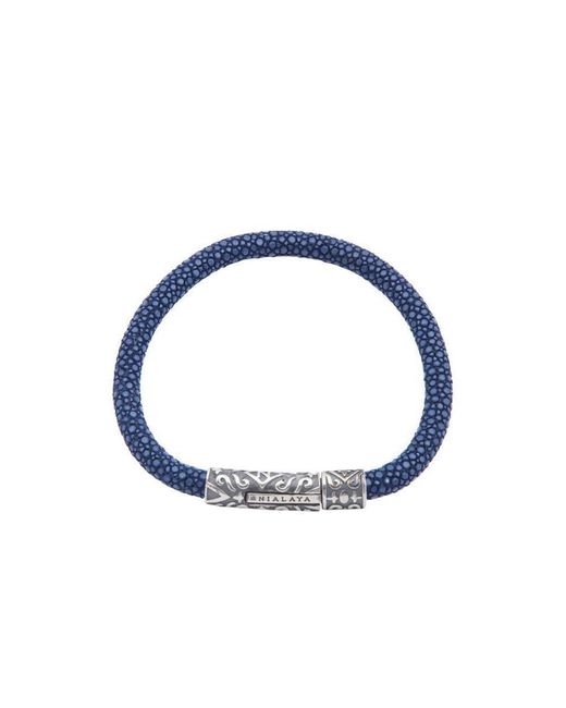 Nialaya - Dark Blue Stingray Bracelet With Silver Lock for Men - Lyst