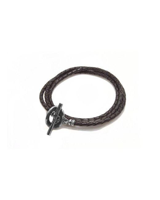 Luke Goldsmith - Chocolate Brown Leather Wrap Bracelet - Lyst