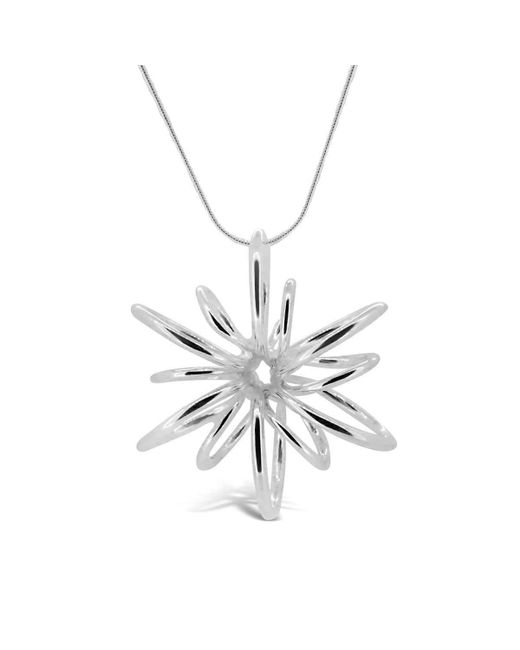 Maree London | Metallic Silver Small Lotus Necklace | Lyst