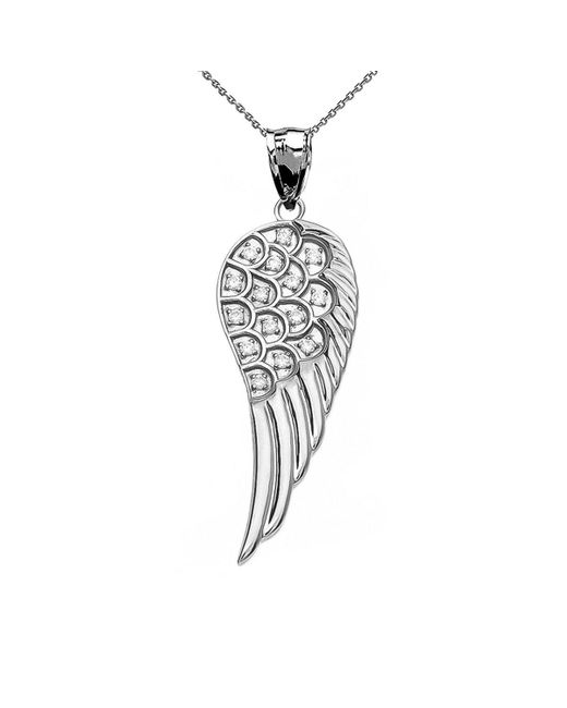 QP Jewellers - Metallic Diamond Angel Wing Pendant Necklace In 9kt White Gold - Lyst