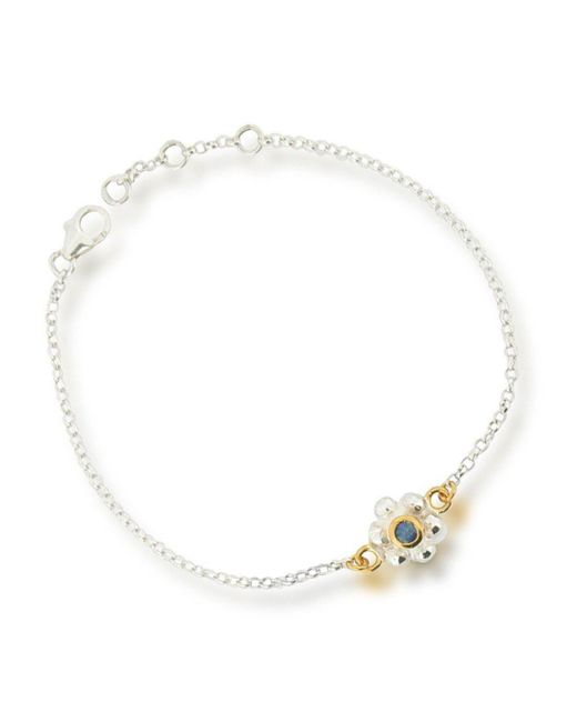 Ana Verdun - Metallic 9kt White Gold & Sapphire Grace Bracelet - Lyst