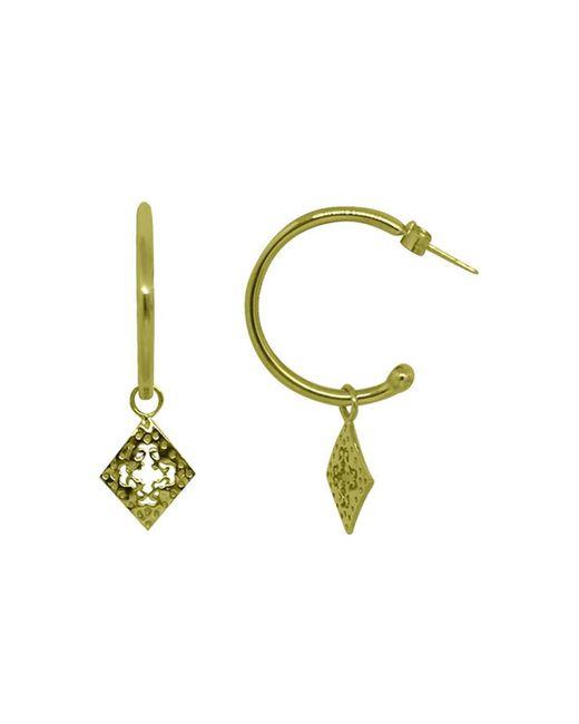 Murkani Jewellery - Metallic Gold Diamond Medium Hoop Earrings | - Lyst
